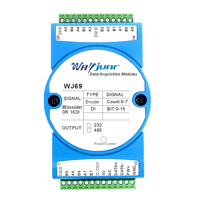 8-channel encoder or 16-channel DI counter, Modbus RTU WJ69